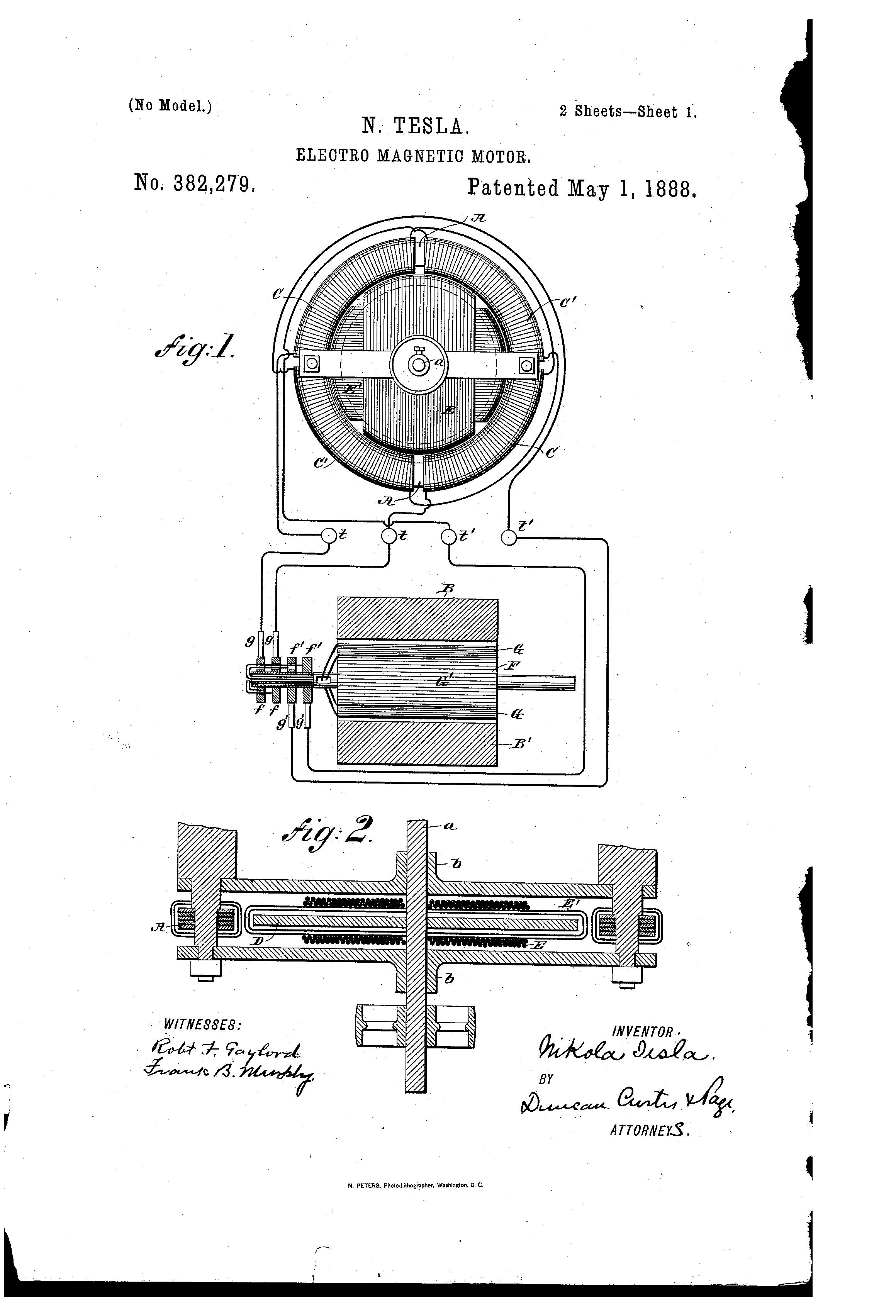 may 1888 patent motor tesla