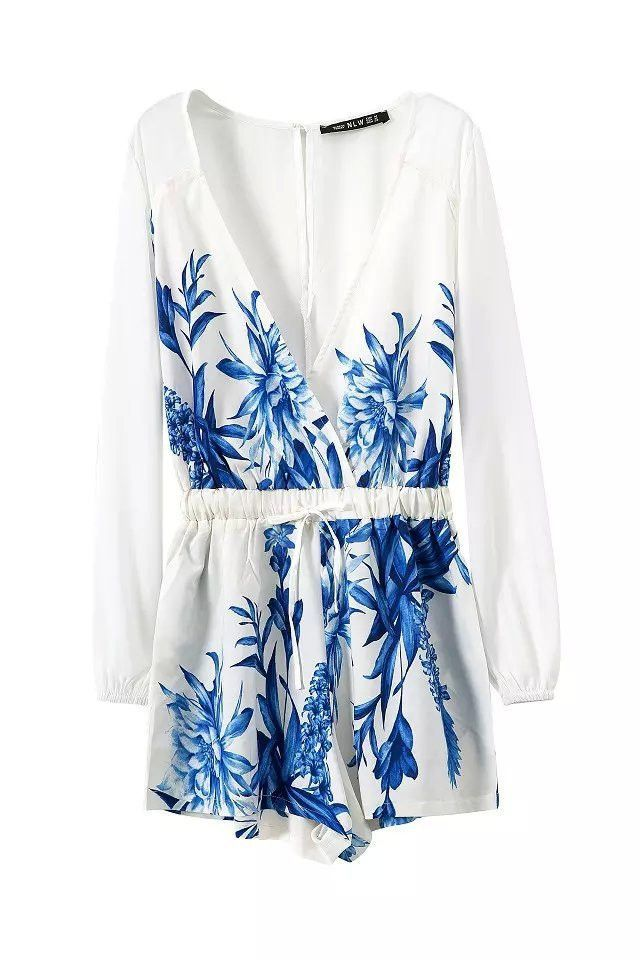 305bf0e691f3 Fashion Ladies  sexy floral print jumpsuits shorts pants long sleeve deep V  neck Rompers casual slim brand pants
