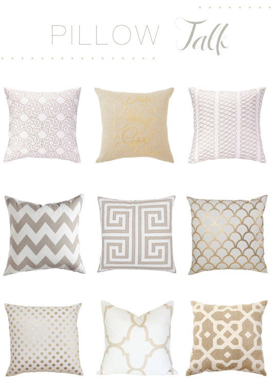 Cream and gold geometric pillows
