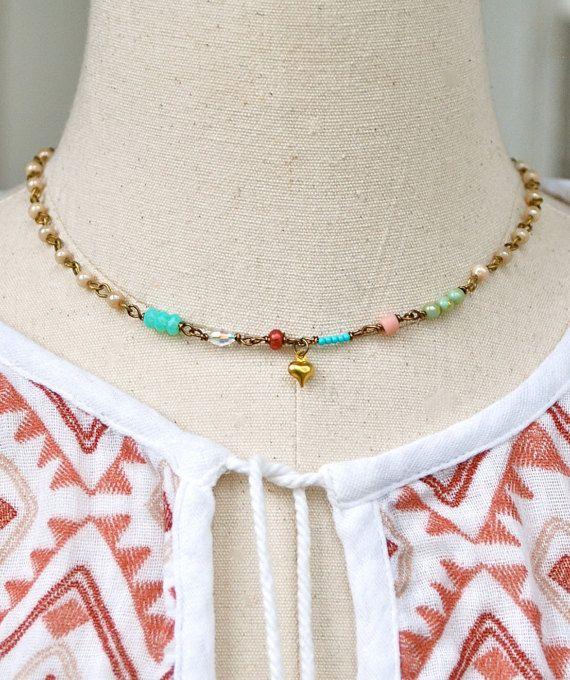 Gargantilla de corazón bohemio. colores de cuentas capas encanto necklace.boho…