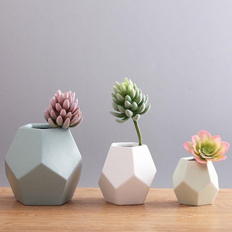 Geometric Nordic Style Ceramic Vase In 2020 Ceramic Flowers White Ceramic Vases Decorative Household Items