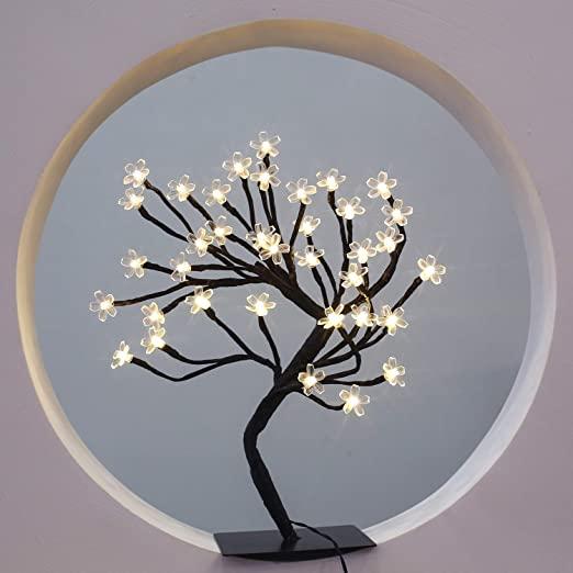Amazon Com Brightdeco Lighted Cherry Blossom Tree 36 Led Artificial Bonsai Tree Battery Powered Ideal Cherry Blossom Tree Blossom Trees Fairy Lights In Trees