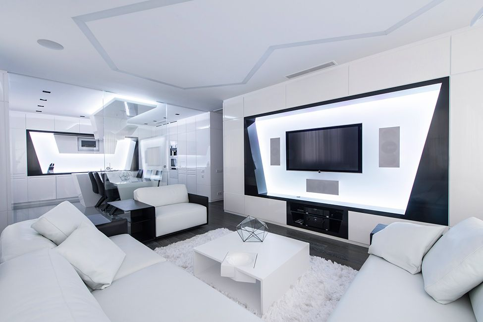 Dise o futurista de departamento dapartamentos futuridtas pinterest interior futurista Diseno interior futurista