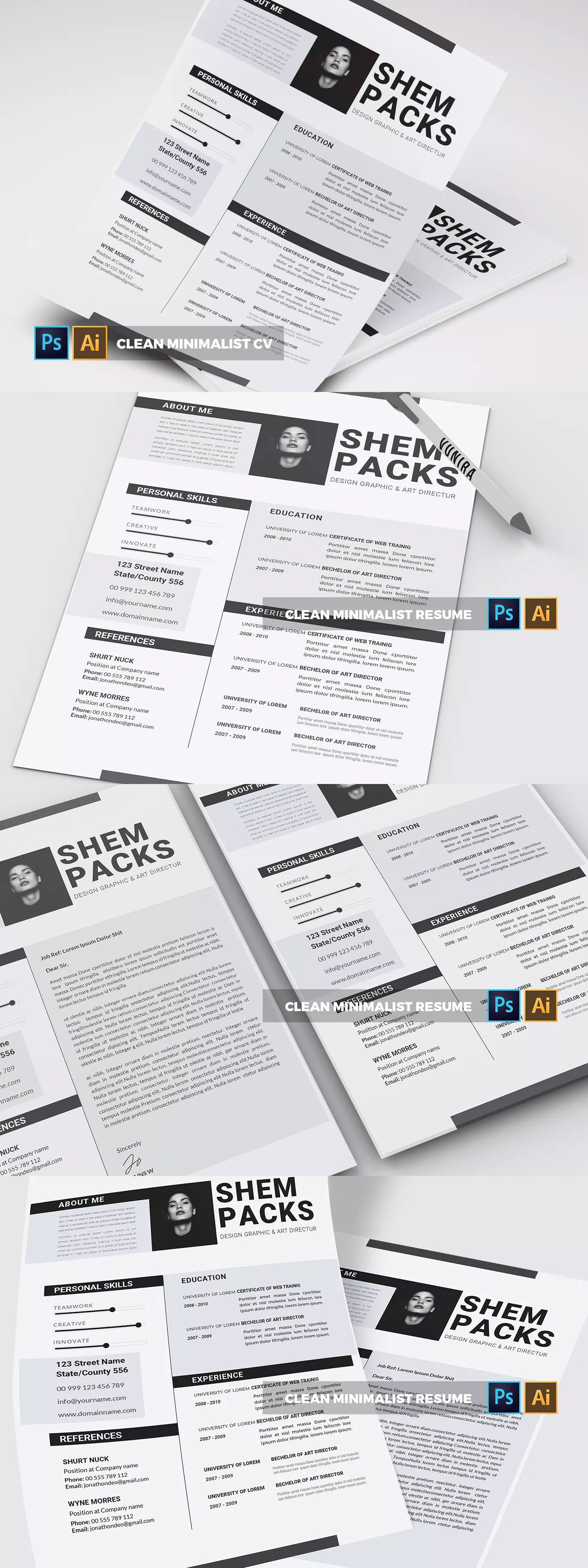 Clean Minimalist CV & Resume Template AI, EPS, PSD