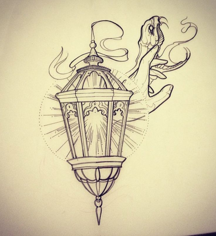 Awesome Lantern With Snake Tattoo Sketch