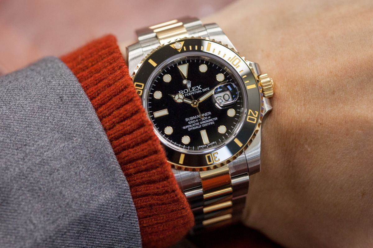 Stainless Steel & Gold Rolex Submariner with Black Dial ...
