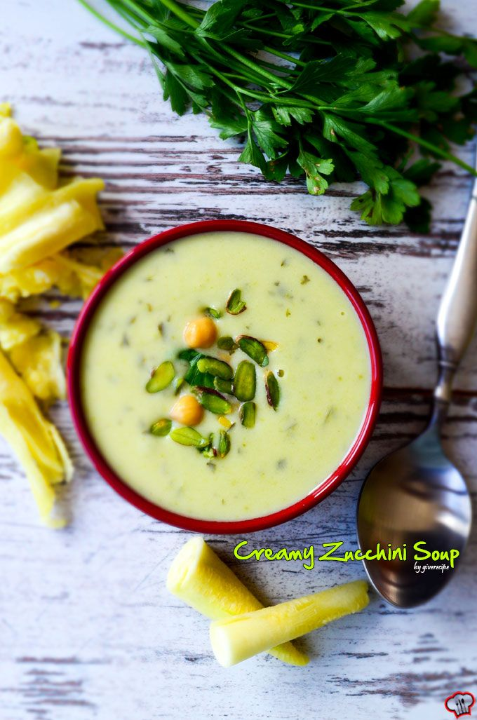 Creamy Zucchini Soup with Chickpeas and Pistachios. Made with yogurt, it's perfect for fall.