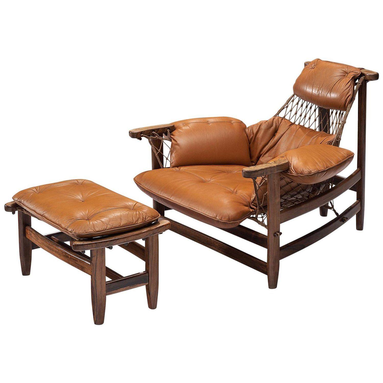 Admirable Jean Gillon Jangada Lounge Chair With Ottoman In Cognac Creativecarmelina Interior Chair Design Creativecarmelinacom