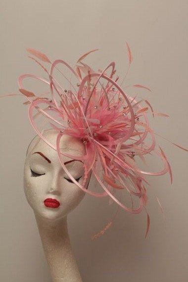 Large Pink Rhinestone Diamante Feather Fascinator Hat - wedding ... fdd4bbe8203