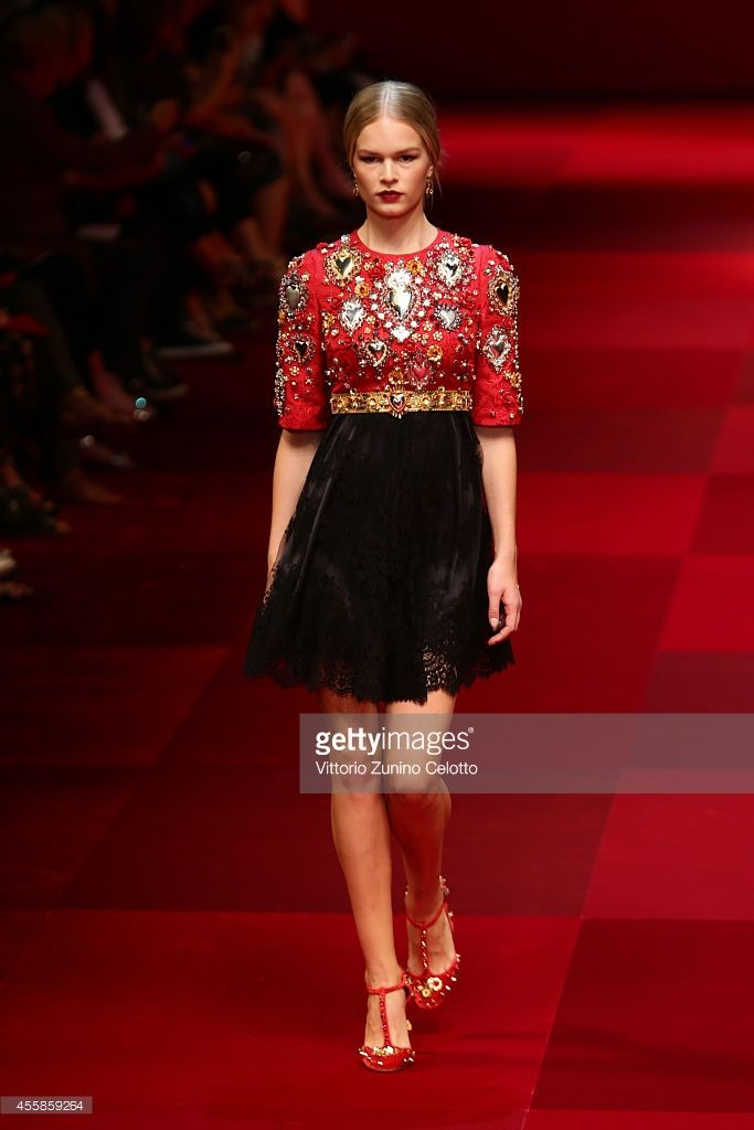 A model walks the runway during the Dolce & Gabbana show as a part of the Milan Fashion Week Womenswear Spring/Summer 2015 on September 21, 2014 in Milan, Italy.