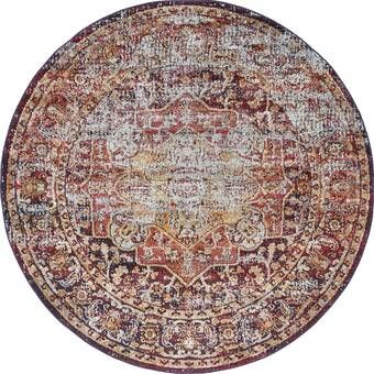 Lowndes Bohemian Red Beige Area Rug Unique Loom Round