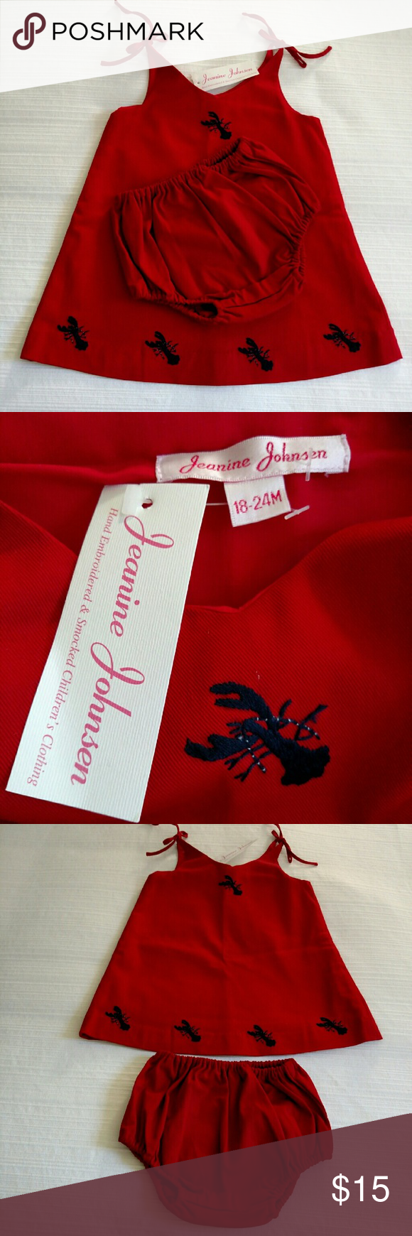 Jeanine Johnsen 2 pc dress NWT Red Boutique designer dress & diaper cover short. Hand embroidered lobsters encircle the hem of the dress. Adorable! Smoke free home. Jeanine Johnsen Dresses