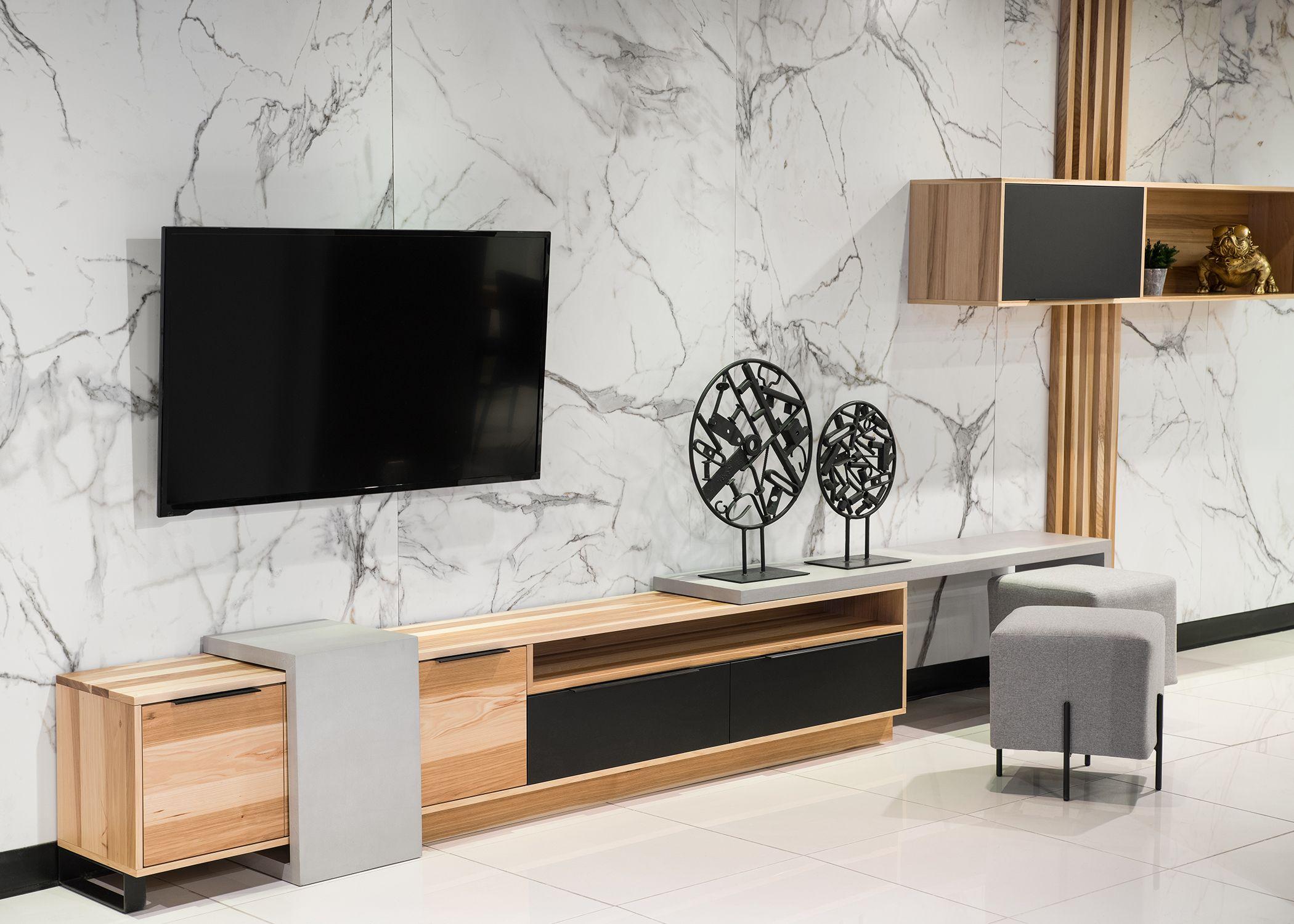 Meuble Tele Montcalm Hickory Opaco Table En C Bellechasse Table En L Bellechasse Beton Ciment Huche Flat Screen Electronic Products Flatscreen Tv