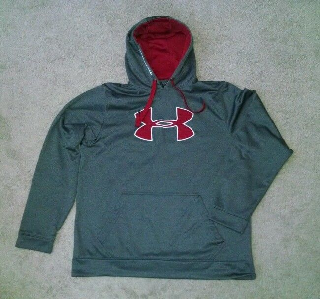 Men's Under Armour Fleece Big Logo Hoodie size XL charcoal gray & red #UnderArmour #WarmupTop