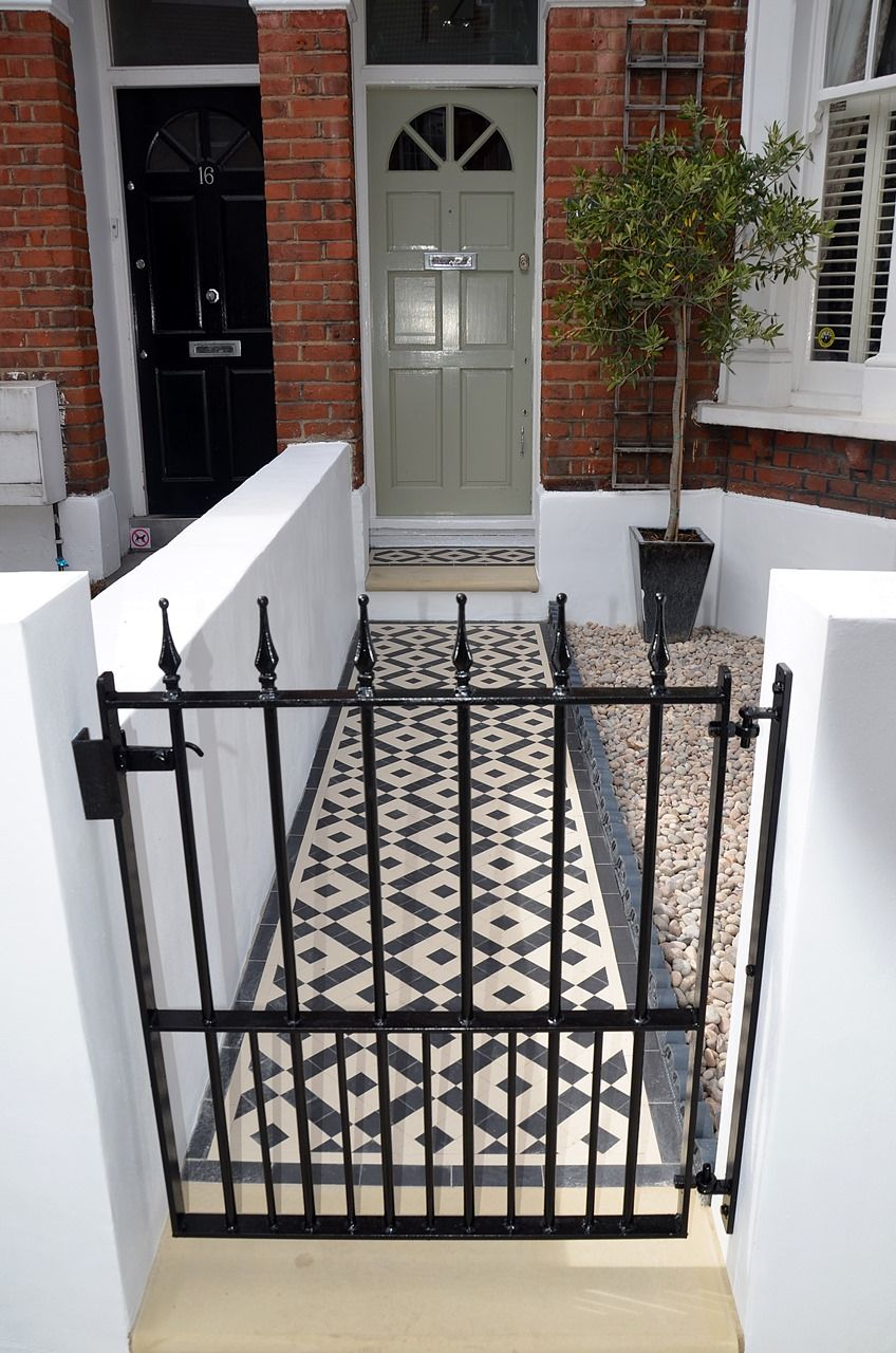 Plastered Rendered Front Garden Wall Painted White Metal Wrought Iron Rail And Gate Victorian Mosaic Tile