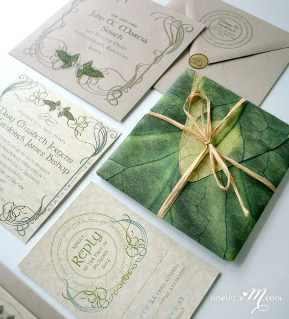 Lord of the Rings Wedding Invitations Part One Invitation suite