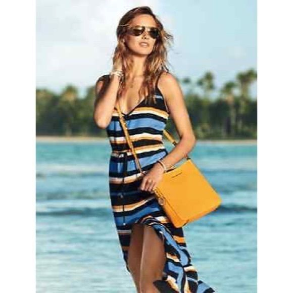 Michael kors navy and white striped maxi dress