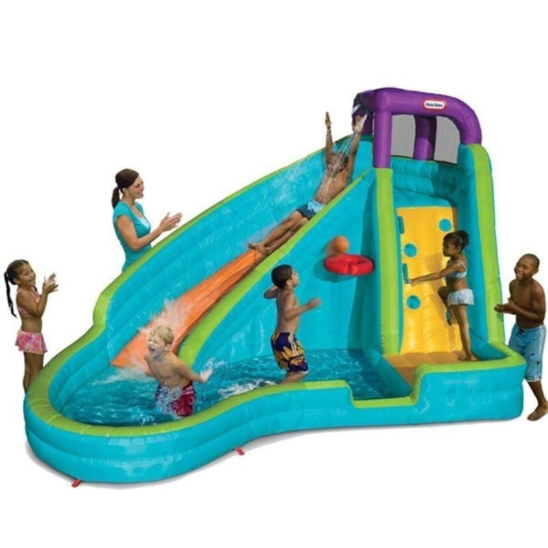 little tikes inflatable water slide kids backyard home blow up bouncer rock wall - Blow Up Water Slides