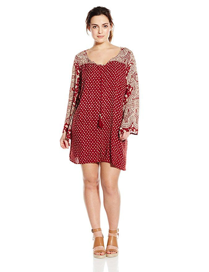 Angie Juniors Plus Size Printed Bell Sleeve Dress Red Boho
