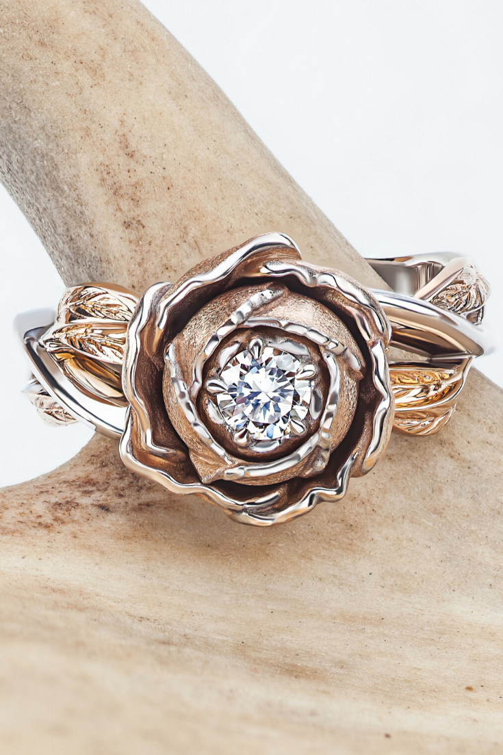 14k Two Tone Rose Gold And White Gold Band Peony Ring Diamond
