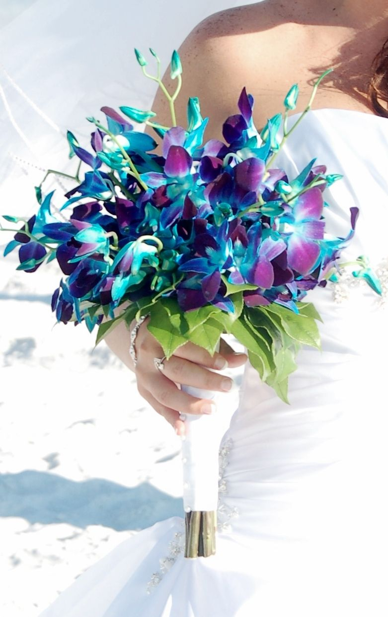 Blue Dendrobium Orchid Bridal Bouquet Video Game Wedding