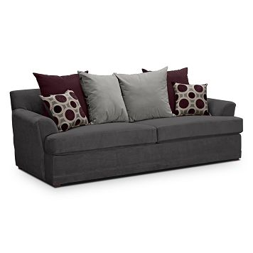 Berkeley Pewter Upholstery Queen Sleeper Sofa Furniture Com Lots Of Pillows For Back Hmm Value City Furniture Furniture Loveseat American Signature Furniture