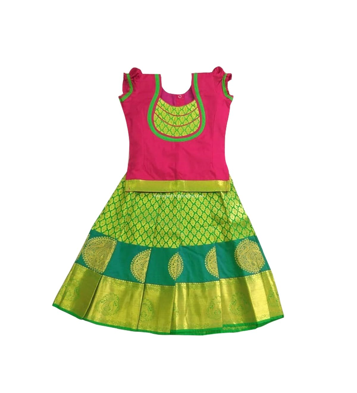 f7803fe20216ee Beautiful  traditional parrot green and pink  pattu  pavadai. Ages 0-10Y.  combowww.pattupavadai.com product kids-parrot-green-and-pink-pure-silk -pavadai