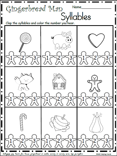 Christmas Gingerbread Syllables Worksheet Syllable Worksheet Christmas Kindergarten Christmas Worksheets