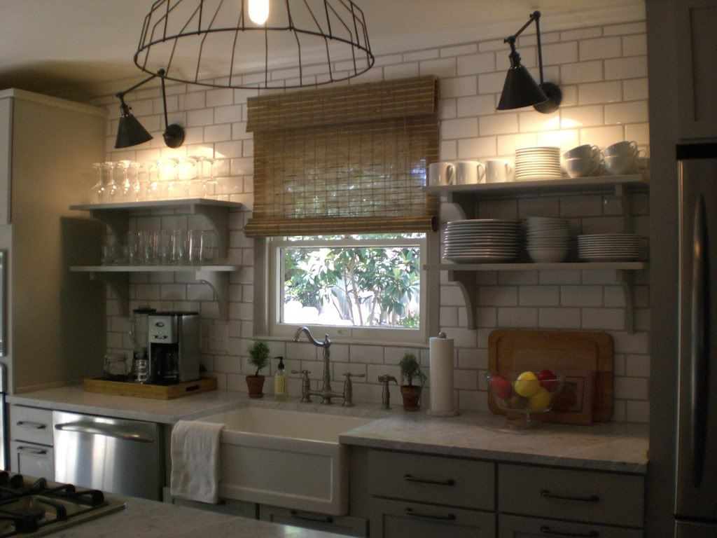 Restoration Hardware Vintage French Farmhouse Sconce Light Grey Grout With White Subway Tile Also Love The Lighting