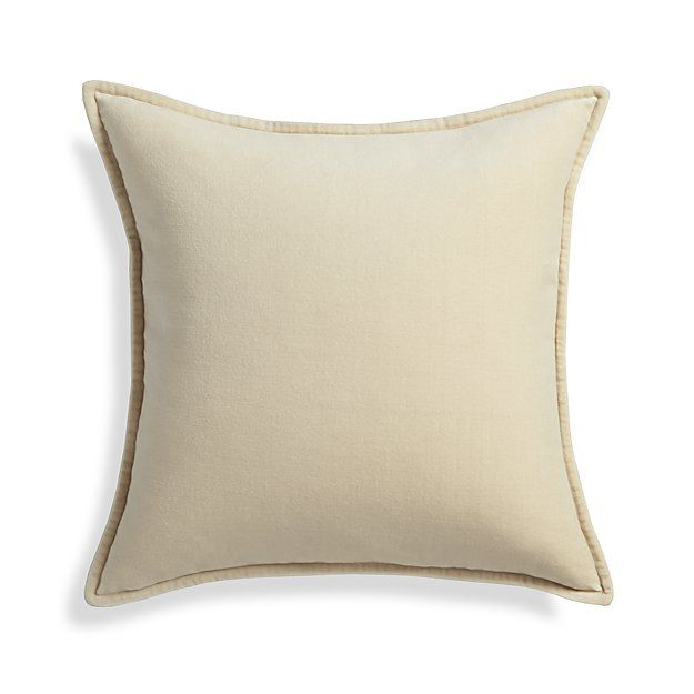 Brenner Cream 40 Velvet Pillow With DownAlternative Insert Crate Awesome Crate And Barrel Throw Pillow Inserts