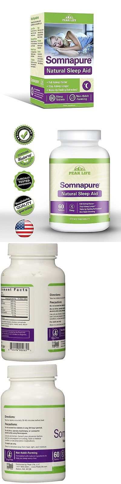 Other Sleeping Aids: Peak Life Somnapure Natural Sleep Aid 60 Count New Free Shipping BUY IT NOW ONLY: $30.77