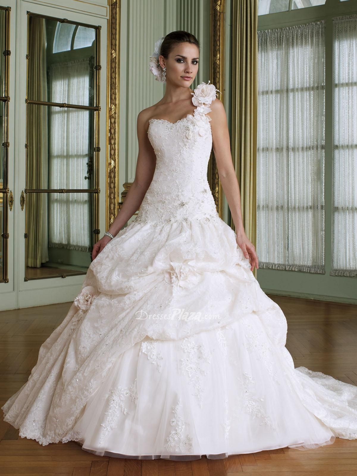 lace over taffeta flower one shoulder sweetheart ball gown dropped ...