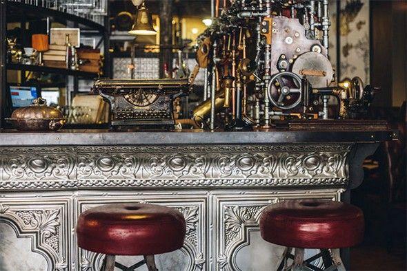 steampunk inneneinrichtung gestalten tipps, tin ceiling tiles as bar front | basement | pinterest | coffee shop, Design ideen
