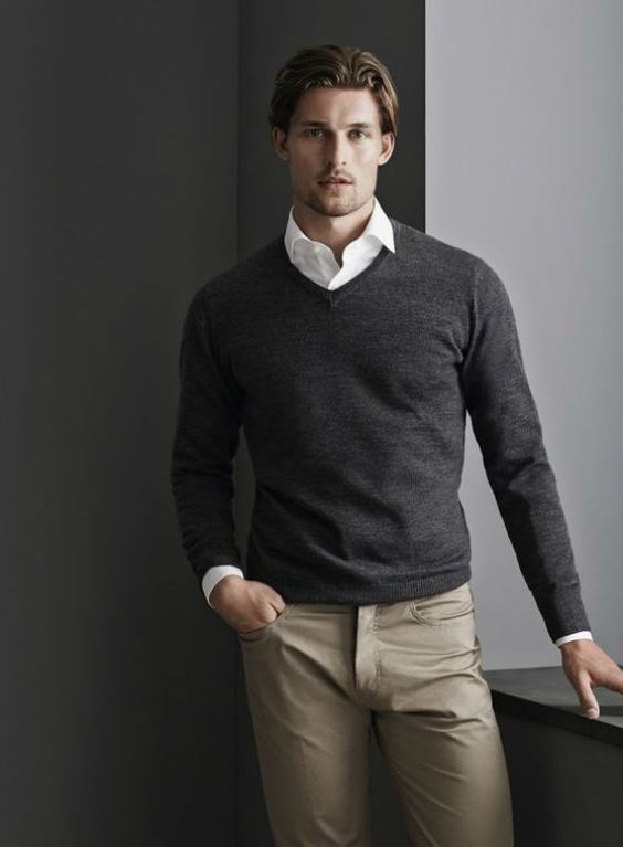 grey pullover, a white shirt, grey pants and no tie | Dapper ...