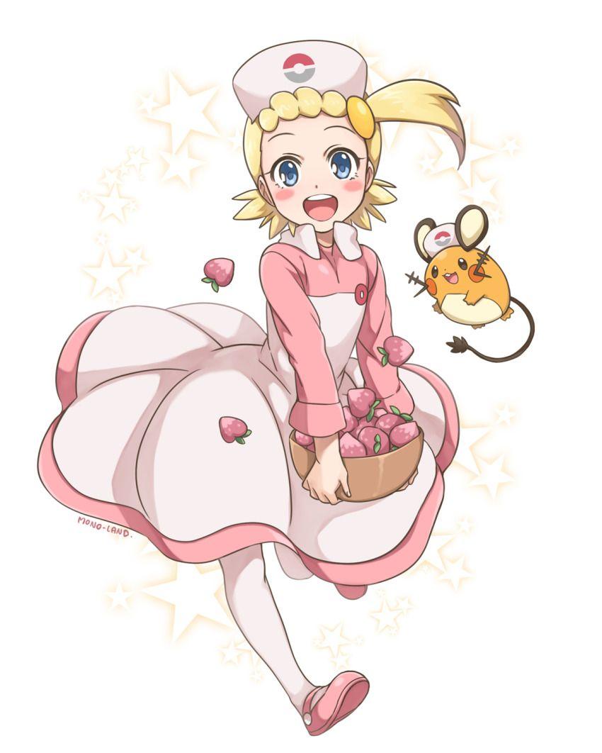 Anime Picture Search Engine 1girl Artist Name Asymmetrical Hair Basket Blonde Hair Blue Eyes Dedenne Eureka Pokemon Pokemon Pokemon Games Pokemon Pictures
