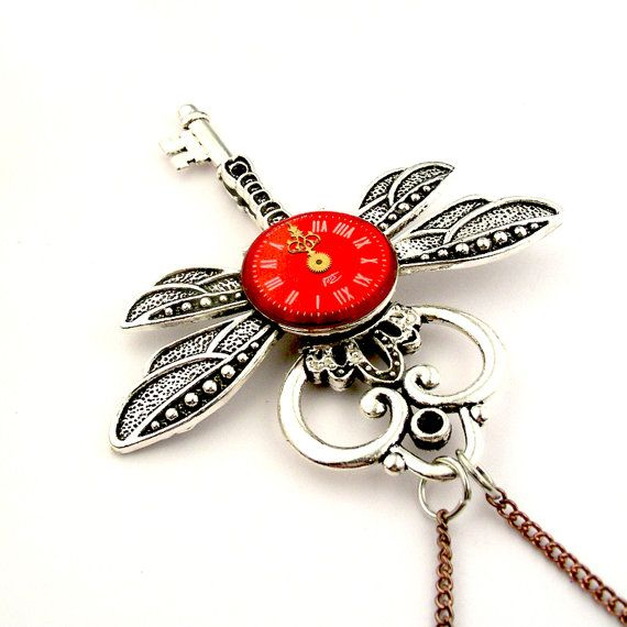 Insect Skeleton Key Necklace    Clockwork Dragonfly by SteamSect, $53.78