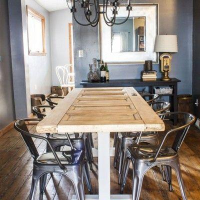 Mesa con puerta reciclada bricolaje reciclado y for Mesas hechas con puertas antiguas
