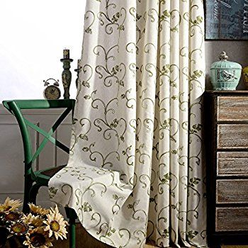 Amazon Com Linen Curtains Green Leaf Drapes Anady Set Of 2