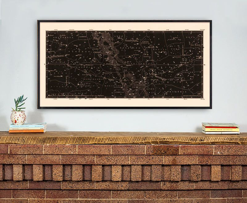 Houston Map Framed%0A Star Map Print  Constellations Chart Print  Antique Large Horizontal Art  Print  Masculine Home