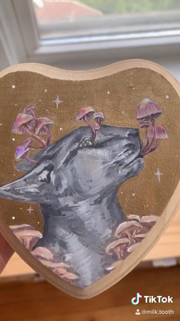 This piece has sold but was one of my favorites 😚 #art #cat #mushrooms #holographic #cryptid #weirdart #painting #gouache #artist