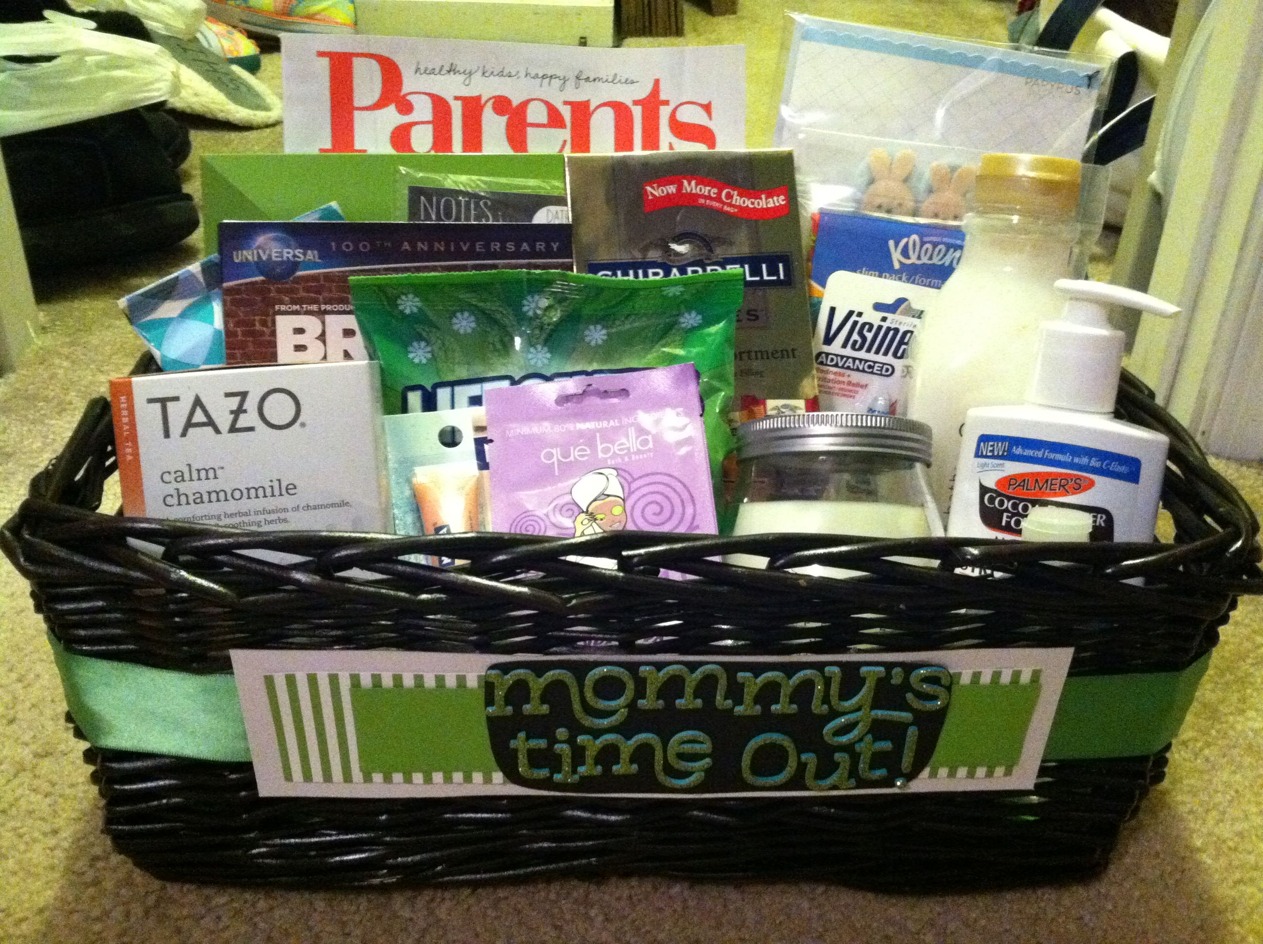 "Baby Shower t basket ""Mommy s Time Out"" theme"