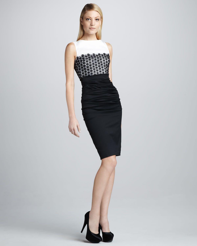Colorblock Sheath Dress - Talbot Runhof ( Formal Medium Color blocked White Black Lace Silk Synthetic-blend Evening Sleeveless Pencil Skirt)
