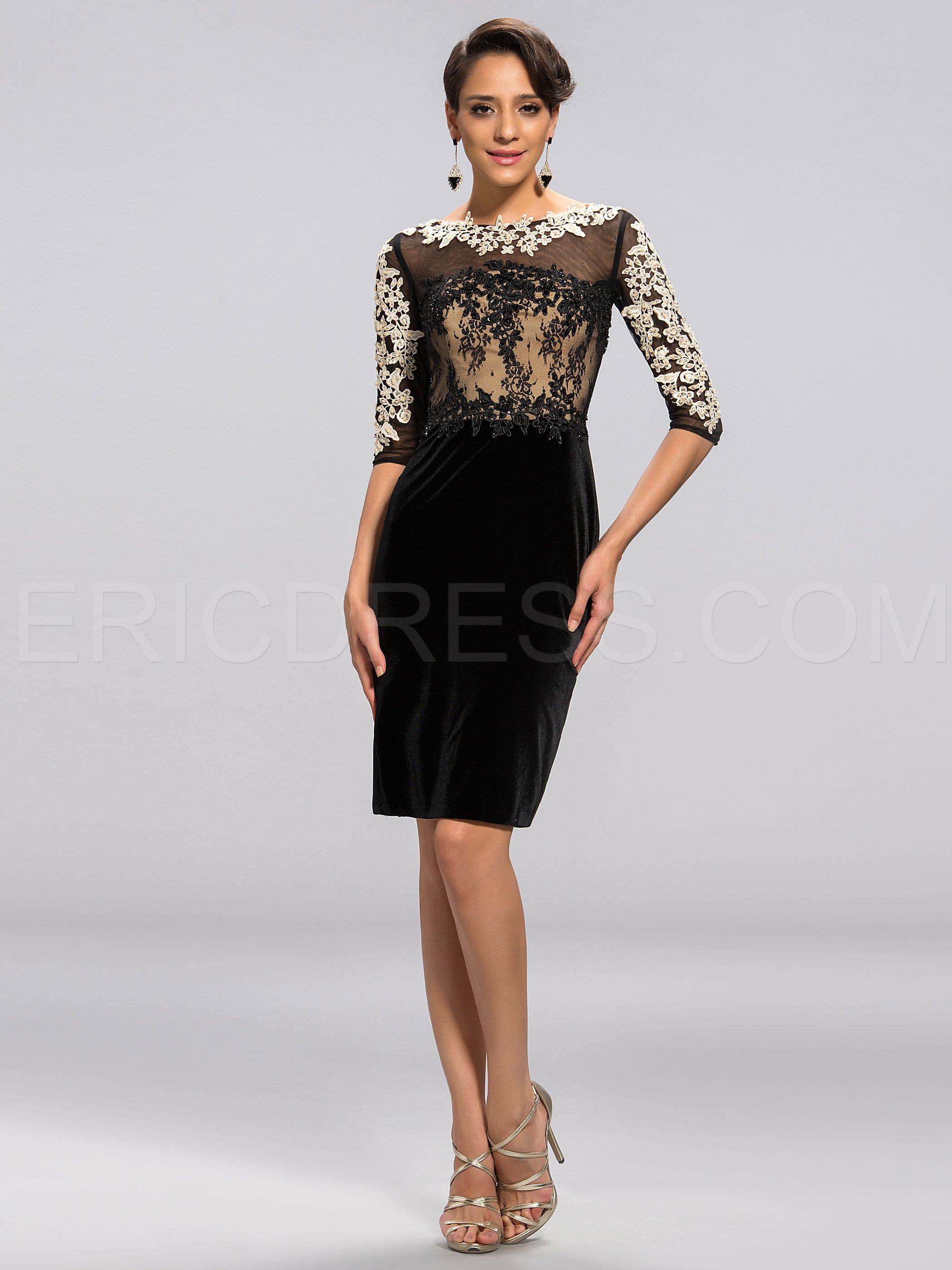 28531f41895 Elegant Sheath Scoop Half-Sleeves Applique Knee-Length Mother Dress  Designer Dresses- ericdress.com 11051168