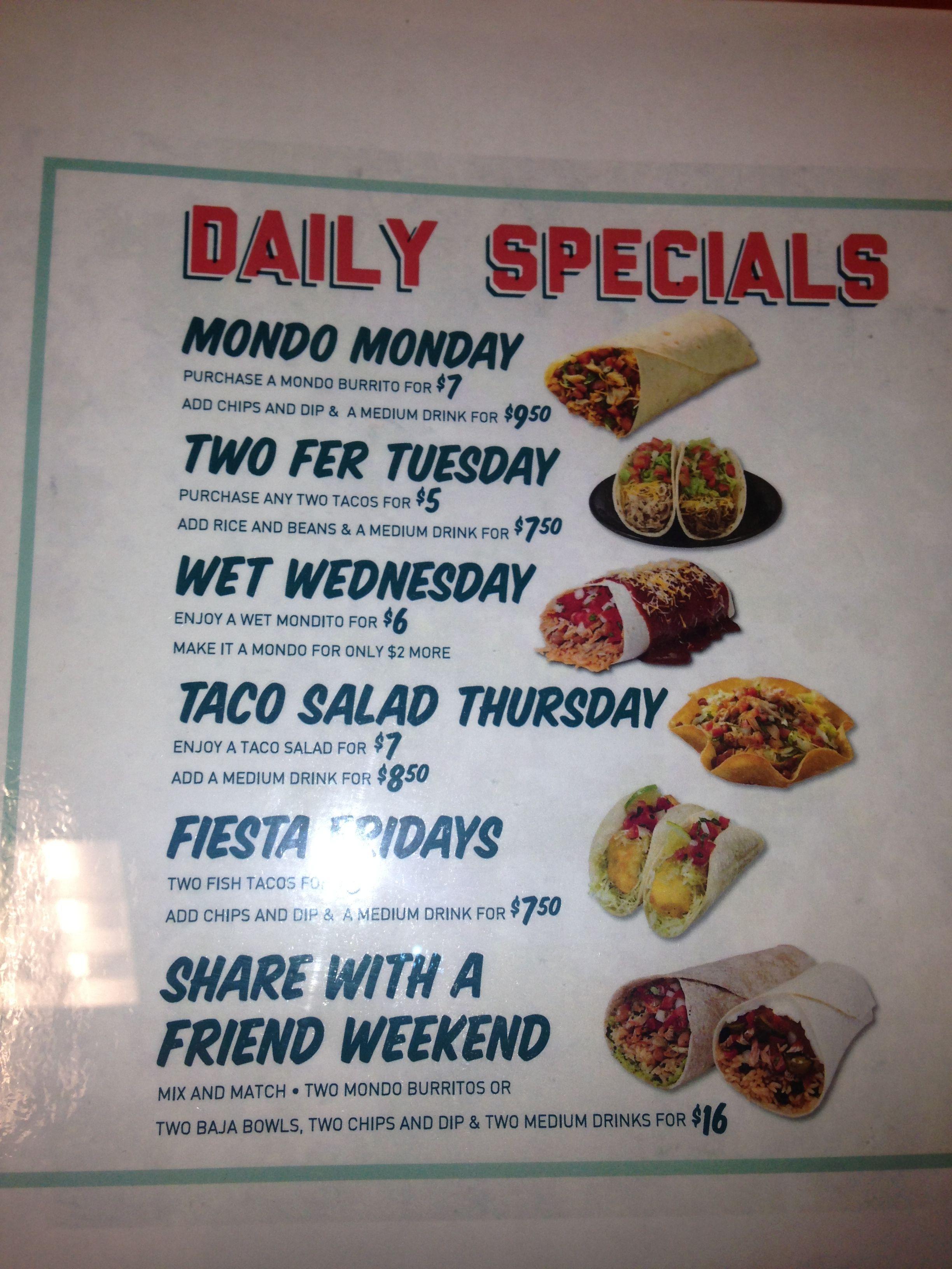 Taco del mar daily specials, St. Mary\'s rd, winnipeg | Restaurants ...