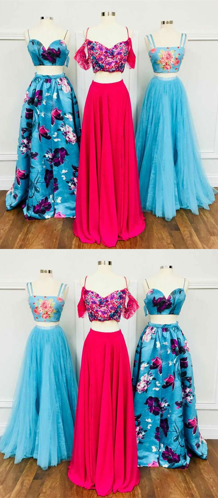 Two piece straps floorlength blue floral prom dress floral prom
