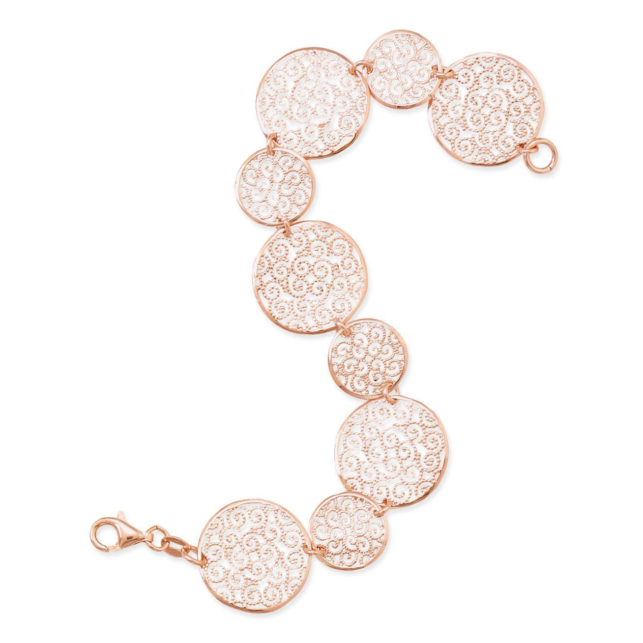 "7"" 14 Karat Rose Gold Plated Bracelet with Filigree Disc Design"