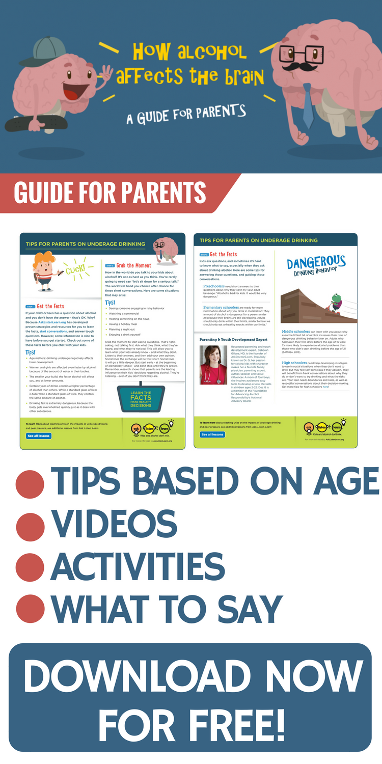 Trouble talking to your tween or teen about alcohol? Download your free guide now. Specifically geared towards 5th and 6th graders, this guide includes videos and tips for parents to help elementary school and middle school students say no to underage drinking.