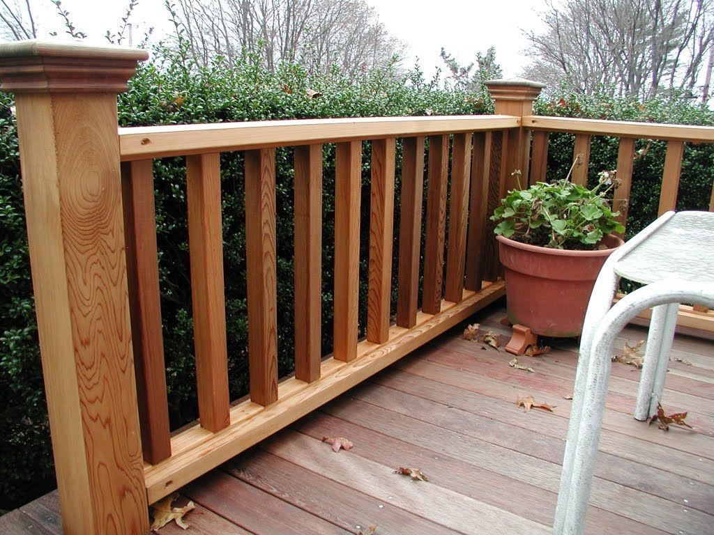 Robust wood deck railing designs ideas deck rail design for Balcony handrail