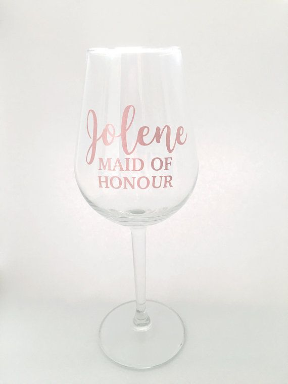 Custom name role vinyl wine glass stickers for bridesmaid gift box maid of honor bridal shower hen party and personalised gift hens bridal showers