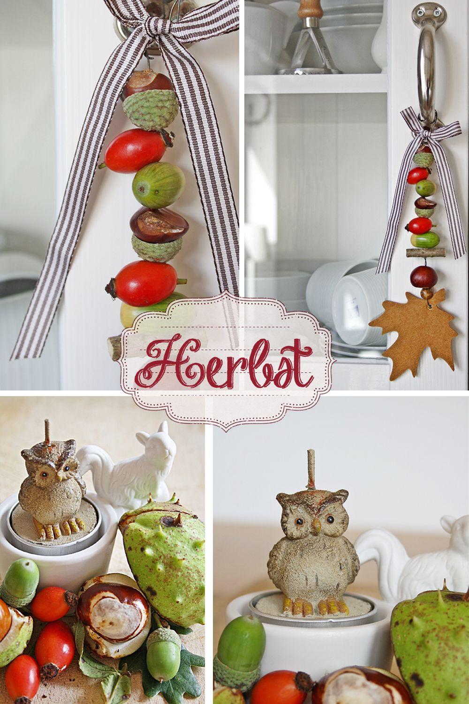 superior einfache dekoration und mobel stimmungsvolle herbstdeko #1: Einfach nur auffädeln, Schleife dran und sich freuen Schöne Herbstdeko.